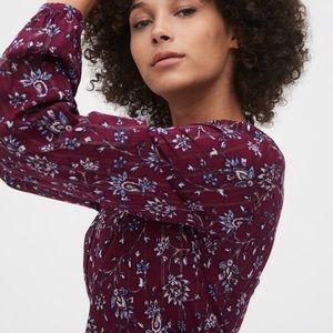 • burgundy floral peplum blouse •